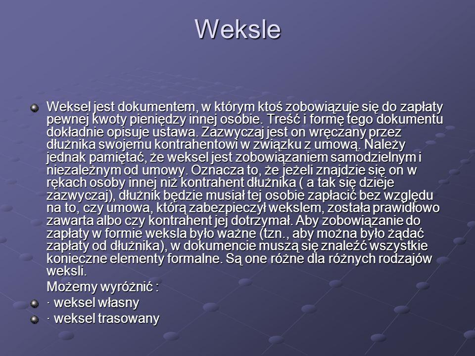 Weksle Weksel jest dokumentem, w którym ktoś zobowiązuje się do zapłaty pewnej kwoty pieniędzy innej osobie. Treść i formę tego dokumentu dokładnie op