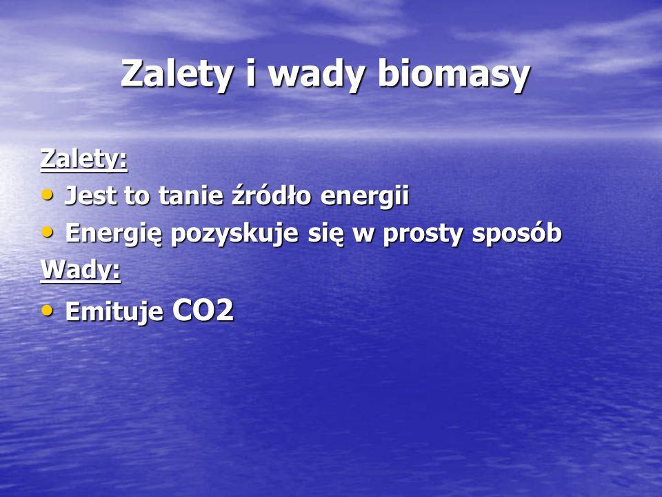 Zalety i wady biomasy Zalety i wady biomasy Zalety: Jest to tanie źródło energii Jest to tanie źródło energii Energię pozyskuje się w prosty sposób En