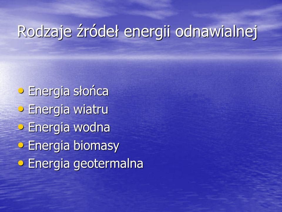 Rodzaje źródeł energii odnawialnej Energia słońca Energia słońca Energia wiatru Energia wiatru Energia wodna Energia wodna Energia biomasy Energia bio