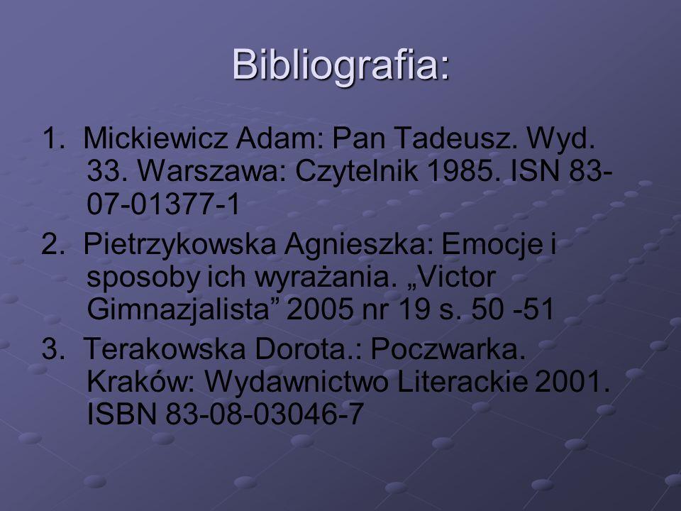 Bibliografia: 1.Mickiewicz Adam: Pan Tadeusz. Wyd.