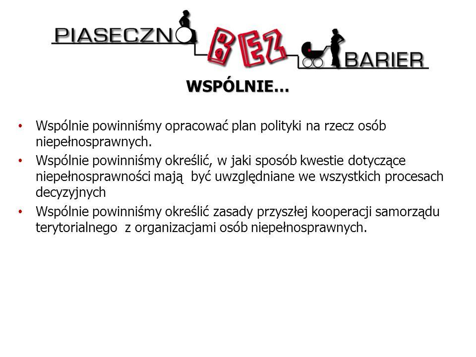 WSPÓLNIE… Wspólnie powinniśmy opracować plan polityki na rzecz osób niepełnosprawnych.