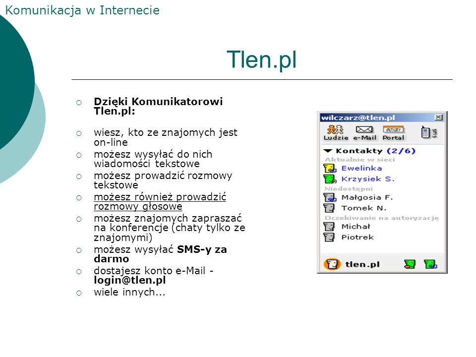Komunikacja w Internecie ICQ jest kolejnym komunikatorem umożliwiającym pogawędkę z innymi użytkownikami sieci. Poprzez ICQ można wysyłać smsy, pliki
