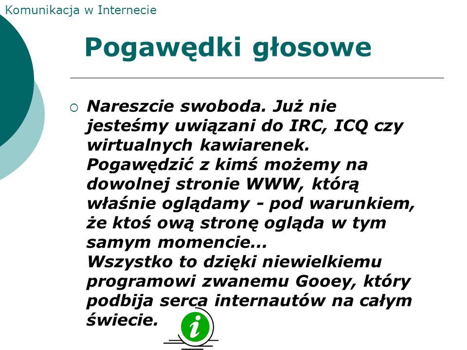 Komunikacja w Internecie Irc IRC czyli Internet Relay Chat jest siecią wielu serwerów z jakimi mamy możliwość łączenia się.