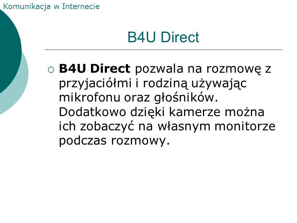 Komunikacja w Internecie B4U Direct B4U Direct pozwala na rozmowę z przyjaciółmi i rodziną używając mikrofonu oraz głośników.