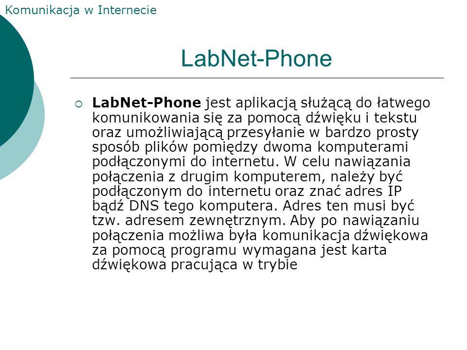 Komunikacja w Internecie LabNet-Phone LabNet-Phone jest aplikacją służącą do łatwego komunikowania się za pomocą dźwięku i tekstu oraz umożliwiającą przesyłanie w bardzo prosty sposób plików pomiędzy dwoma komputerami podłączonymi do internetu.