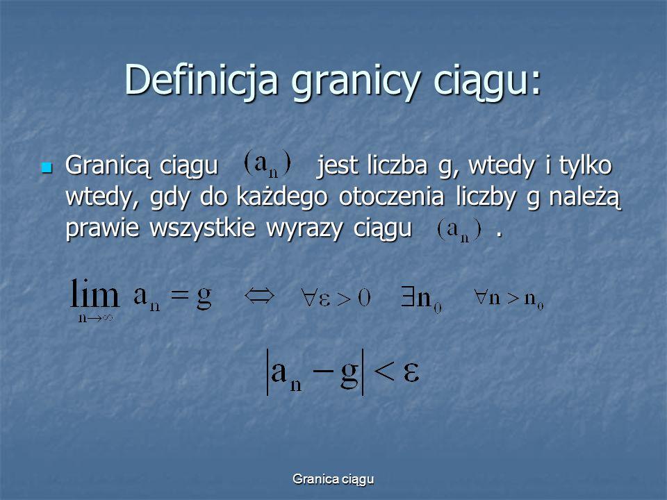 Granica ciągu Definicja granicy ciągu: Granicą ciągu jest liczba g, wtedy i tylko wtedy, gdy do każdego otoczenia liczby g należą prawie wszystkie wyr
