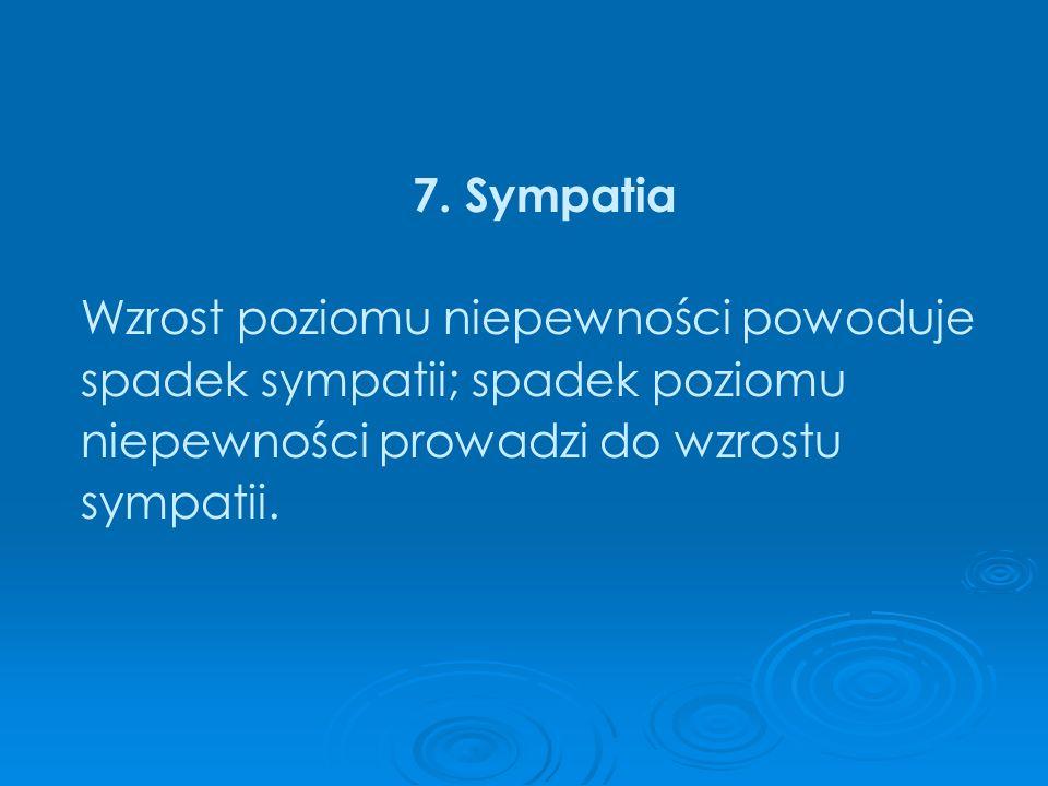 7. Sympatia Wzrost poziomu niepewności powoduje spadek sympatii; spadek poziomu niepewności prowadzi do wzrostu sympatii.
