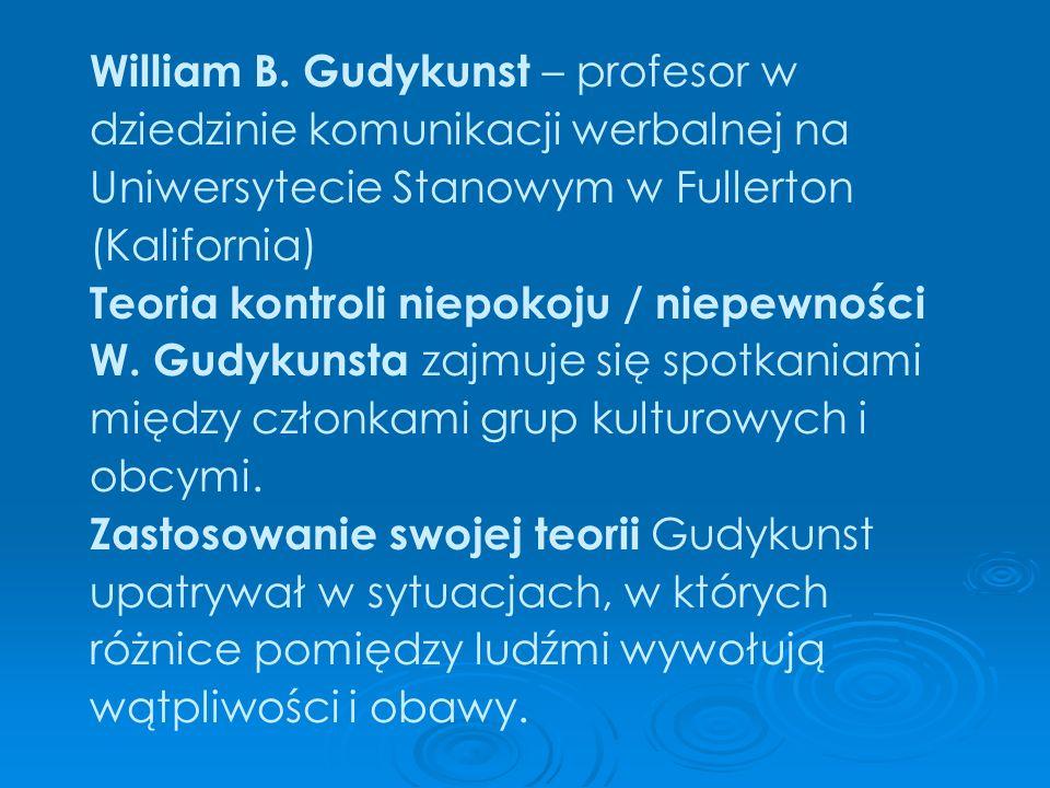 William B. Gudykunst – profesor w dziedzinie komunikacji werbalnej na Uniwersytecie Stanowym w Fullerton (Kalifornia) Teoria kontroli niepokoju / niep