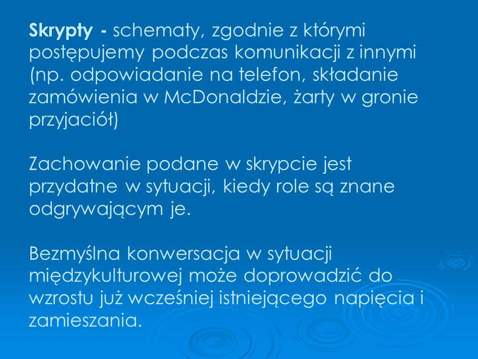Skrypty - schematy, zgodnie z którymi postępujemy podczas komunikacji z innymi (np. odpowiadanie na telefon, składanie zamówienia w McDonaldzie, żarty