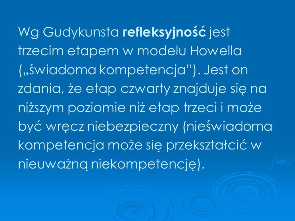 Wg Gudykunsta refleksyjność jest trzecim etapem w modelu Howella (świadoma kompetencja). Jest on zdania, że etap czwarty znajduje się na niższym pozio