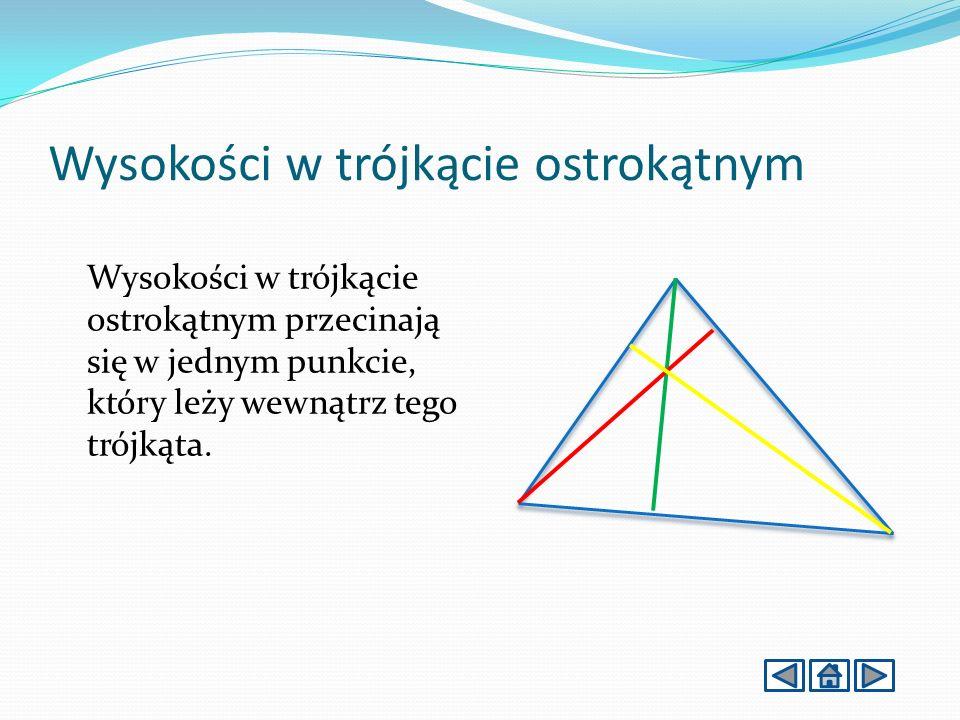 Wysokości w trójkącie ostrokątnym Wysokości w trójkącie ostrokątnym przecinają się w jednym punkcie, który leży wewnątrz tego trójkąta.