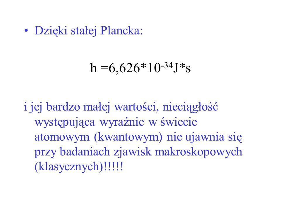 Dzięki stałej Plancka: h =6,626*10 -34 J*s i jej bardzo małej wartości, nieciągłość występująca wyraźnie w świecie atomowym (kwantowym) nie ujawnia si