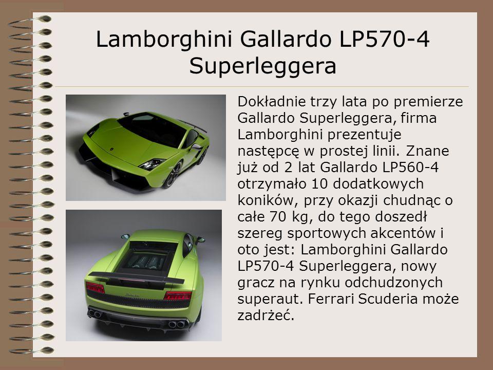 Lamborghini Gallardo LP570-4 Superleggera Dokładnie trzy lata po premierze Gallardo Superleggera, firma Lamborghini prezentuje następcę w prostej linii.