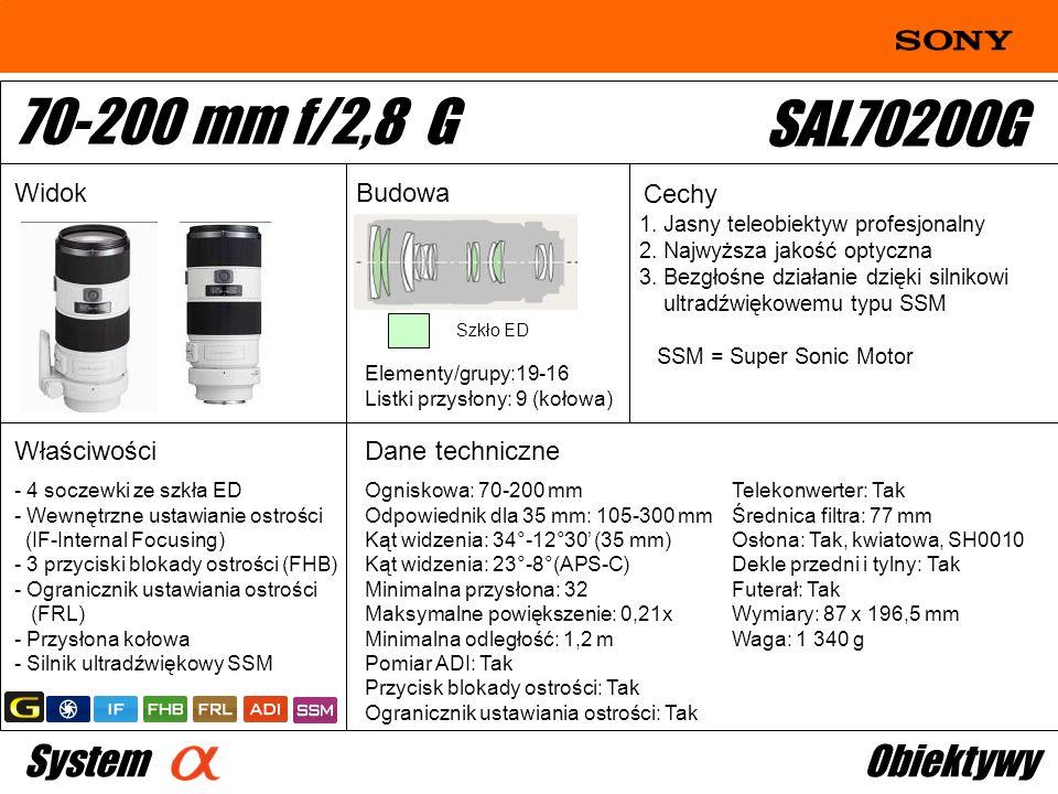 1. Jasny teleobiektyw profesjonalny 2. Najwyższa jakość optyczna 3. Bezgłośne działanie dzięki silnikowi ultradźwiękowemu typu SSM SSM = Super Sonic M
