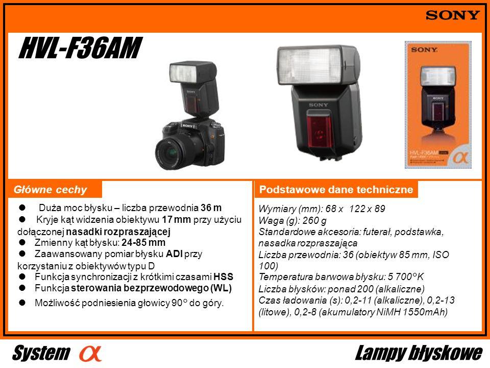 Wymiary (mm): 68 x 122 x 89 Waga (g): 260 g Standardowe akcesoria: futerał, podstawka, nasadka rozpraszająca Liczba przewodnia: 36 (obiektyw 85 mm, IS