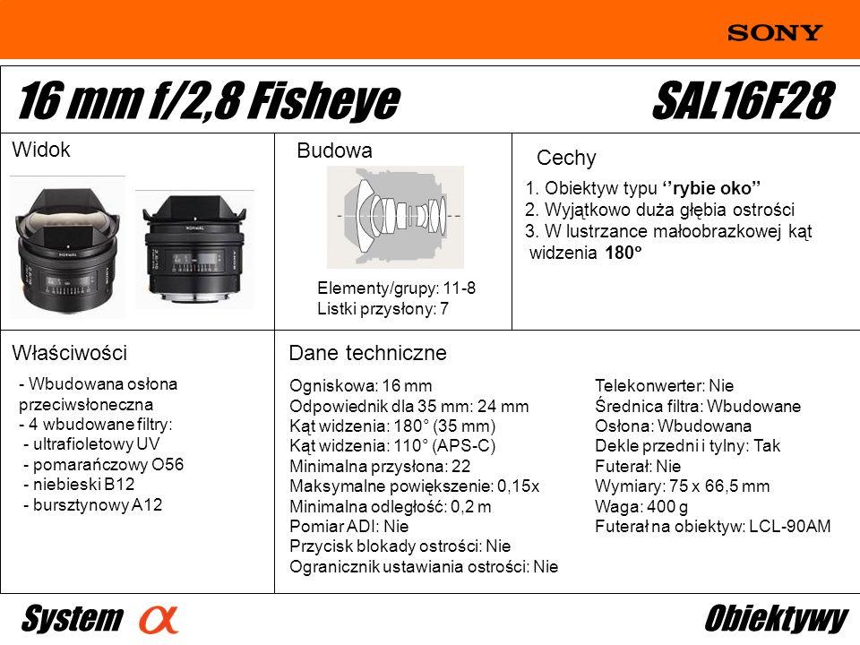 Ogniskowa: 16 mm Odpowiednik dla 35 mm: 24 mm Kąt widzenia: 180° (35 mm) Kąt widzenia: 110° (APS-C) Minimalna przysłona: 22 Maksymalne powiększenie: 0