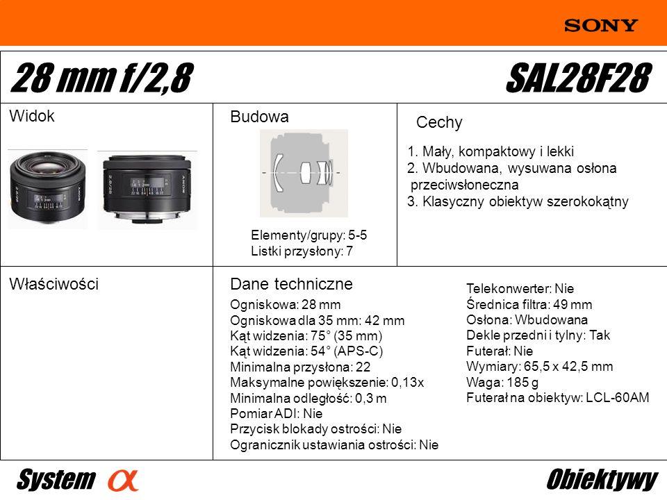 Ogniskowa: 28 mm Ogniskowa dla 35 mm: 42 mm Kąt widzenia: 75° (35 mm) Kąt widzenia: 54° (APS-C) Minimalna przysłona: 22 Maksymalne powiększenie: 0,13x