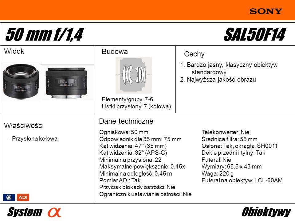 Ogniskowa: 50 mm Odpowiednik dla 35 mm: 75 mm Kąt widzenia: 47° (35 mm) Kąt widzenia: 32° (APS-C) Minimalna przysłona: 22 Maksymalne powiększenie: 0,1