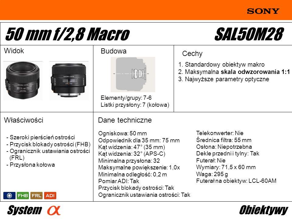 Ogniskowa: 50 mm Odpowiednik dla 35 mm: 75 mm Kąt widzenia: 47° (35 mm) Kąt widzenia: 32° (APS-C) Minimalna przysłona: 32 Maksymalne powiększenie: 1,0