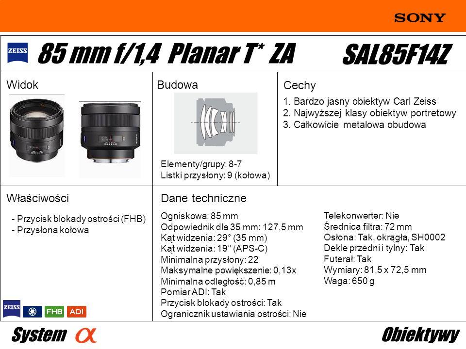 Ogniskowa: 85 mm Odpowiednik dla 35 mm: 127,5 mm Kąt widzenia: 29° (35 mm) Kąt widzenia: 19° (APS-C) Minimalna przysłony: 22 Maksymalne powiększenie: