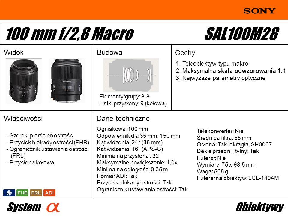 Ogniskowa: 100 mm Odpowiednik dla 35 mm: 150 mm Kąt widzenia: 24° (35 mm) Kąt widzenia: 16° (APS-C) Minimalna przysłona : 32 Maksymalne powiększenie: