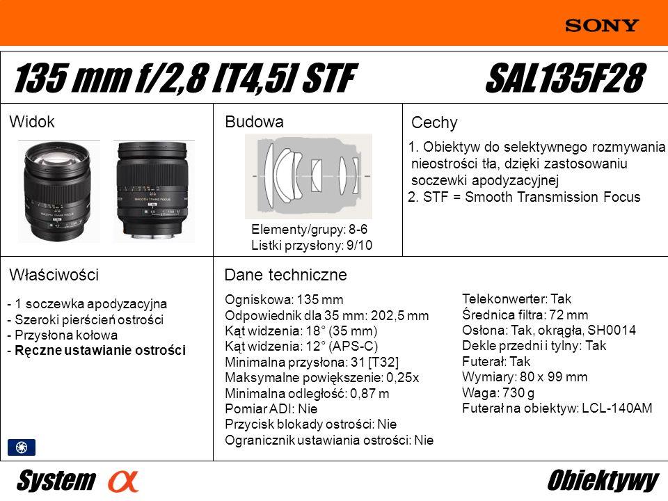 Ogniskowa: 135 mm Odpowiednik dla 35 mm: 202,5 mm Kąt widzenia: 18° (35 mm) Kąt widzenia: 12° (APS-C) Minimalna przysłona: 31 [T32] Maksymalne powięks