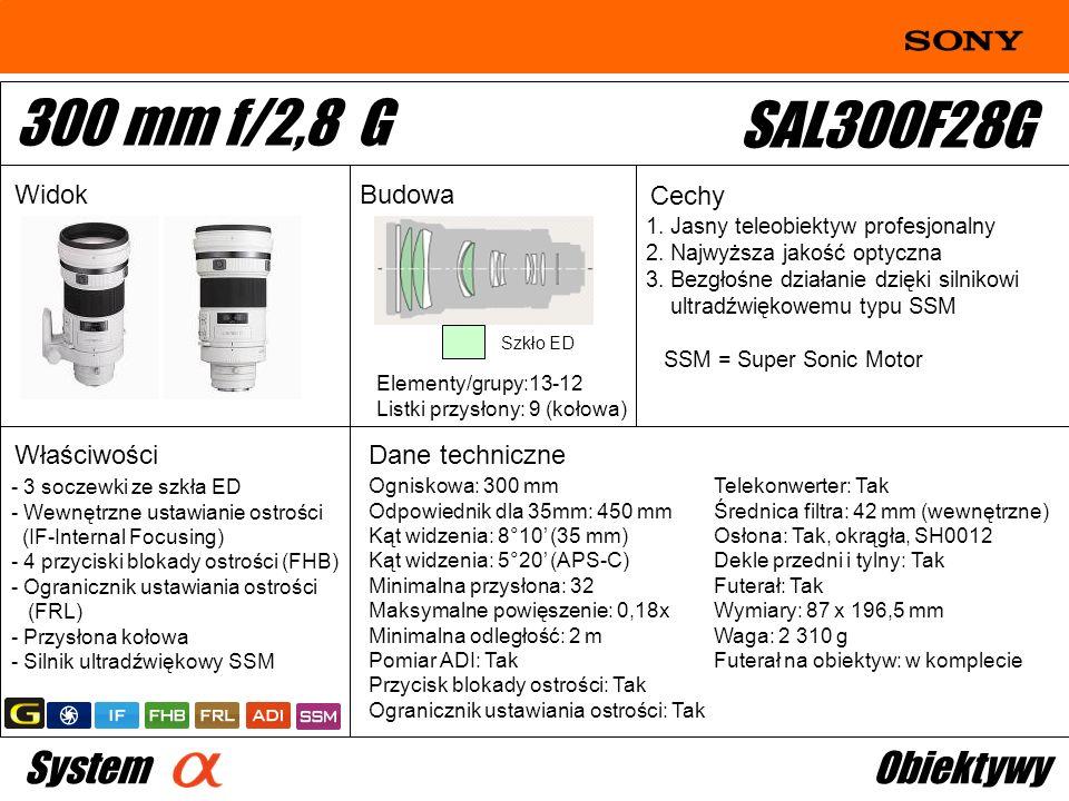 Ogniskowa: 300 mm Odpowiednik dla 35mm: 450 mm Kąt widzenia: 8°10 (35 mm) Kąt widzenia: 5°20 (APS-C) Minimalna przysłona: 32 Maksymalne powięszenie: 0