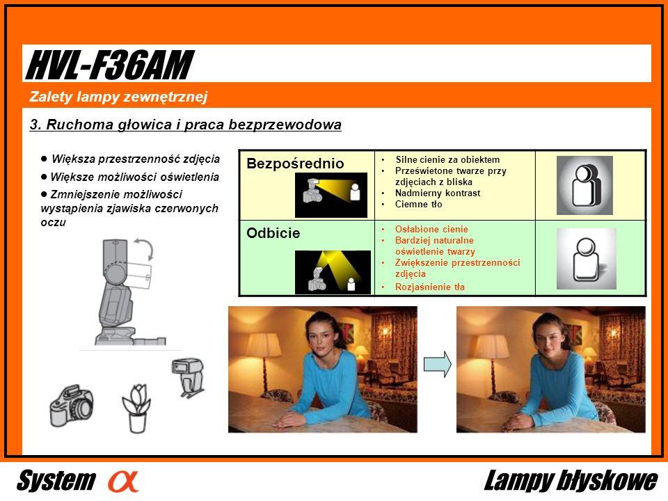 HVL-F36AM 3. Ruchoma głowica i praca bezprzewodowa Bezpośrednio Silne cienie za obiektem Prześwietone twarze przy zdjęciach z bliska Nadmierny kontras