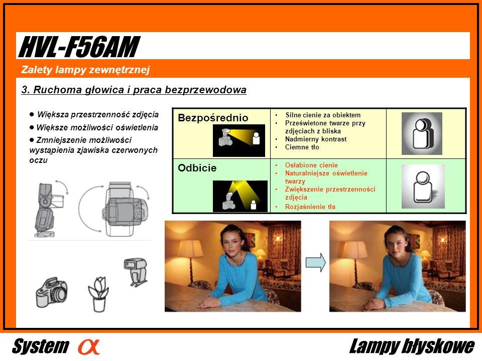 HVL-F56AM 3. Ruchoma głowica i praca bezprzewodowa Bezpośrednio Silne cienie za obiektem Prześwietone twarze przy zdjęciach z bliska Nadmierny kontras