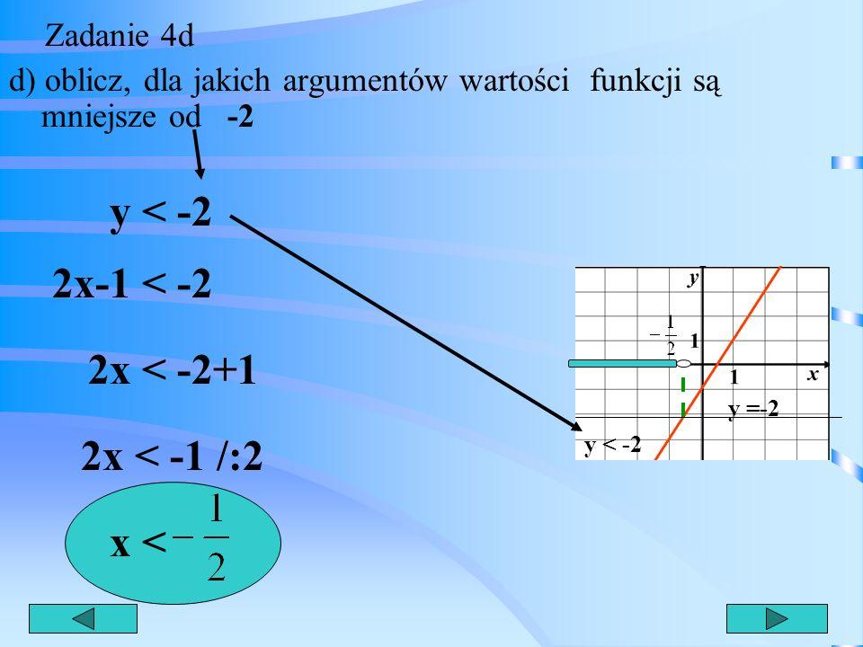 Zadanie 4c c) dla jakich argumentów funkcja ta przyjmuje wartości ujemne ? y < 0 2x-1 < 0 2x < 1 /:2 x < Wykres leży pod osią x y < 0
