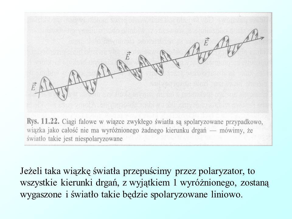 Jeżeli taka wiązkę światła przepuścimy przez polaryzator, to wszystkie kierunki drgań, z wyjątkiem 1 wyróżnionego, zostaną wygaszone i światło takie b