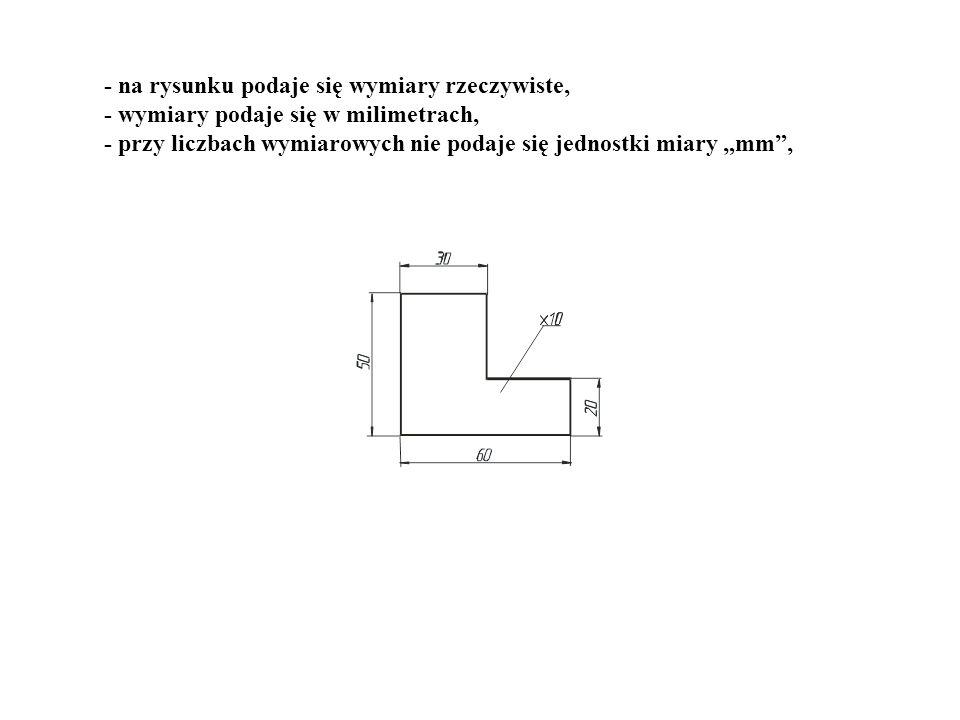 - na rysunku podaje się wymiary rzeczywiste, - wymiary podaje się w milimetrach, - przy liczbach wymiarowych nie podaje się jednostki miary mm,