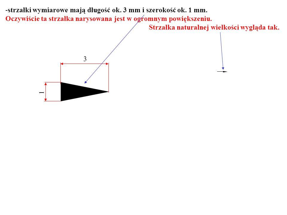 -strzałki wymiarowe mają długość ok. 3 mm i szerokość ok. 1 mm. Oczywiście ta strzałka narysowana jest w ogromnym powiększeniu. Strzałka naturalnej wi