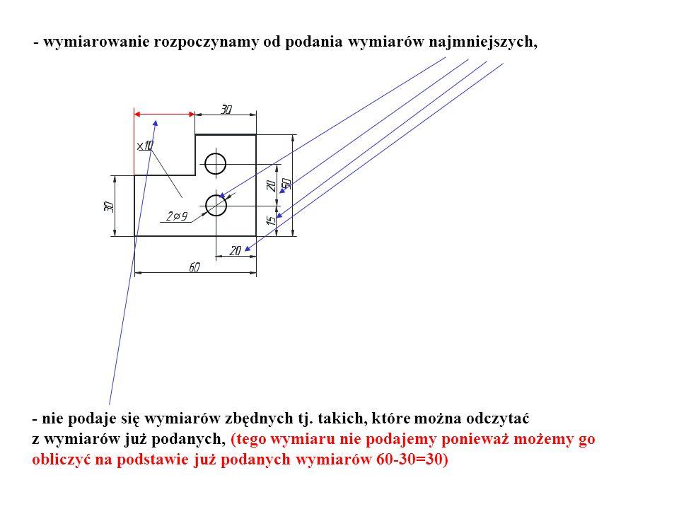 - wymiarowanie rozpoczynamy od podania wymiarów najmniejszych, - nie podaje się wymiarów zbędnych tj. takich, które można odczytać z wymiarów już poda
