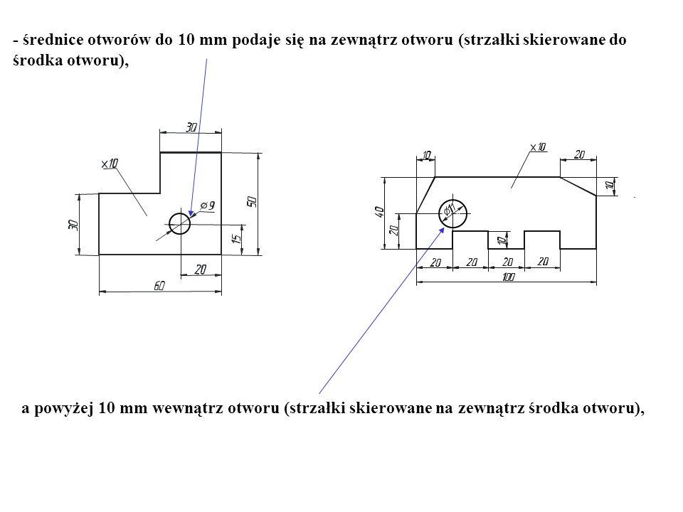 - średnice otworów do 10 mm podaje się na zewnątrz otworu (strzałki skierowane do środka otworu), a powyżej 10 mm wewnątrz otworu (strzałki skierowane