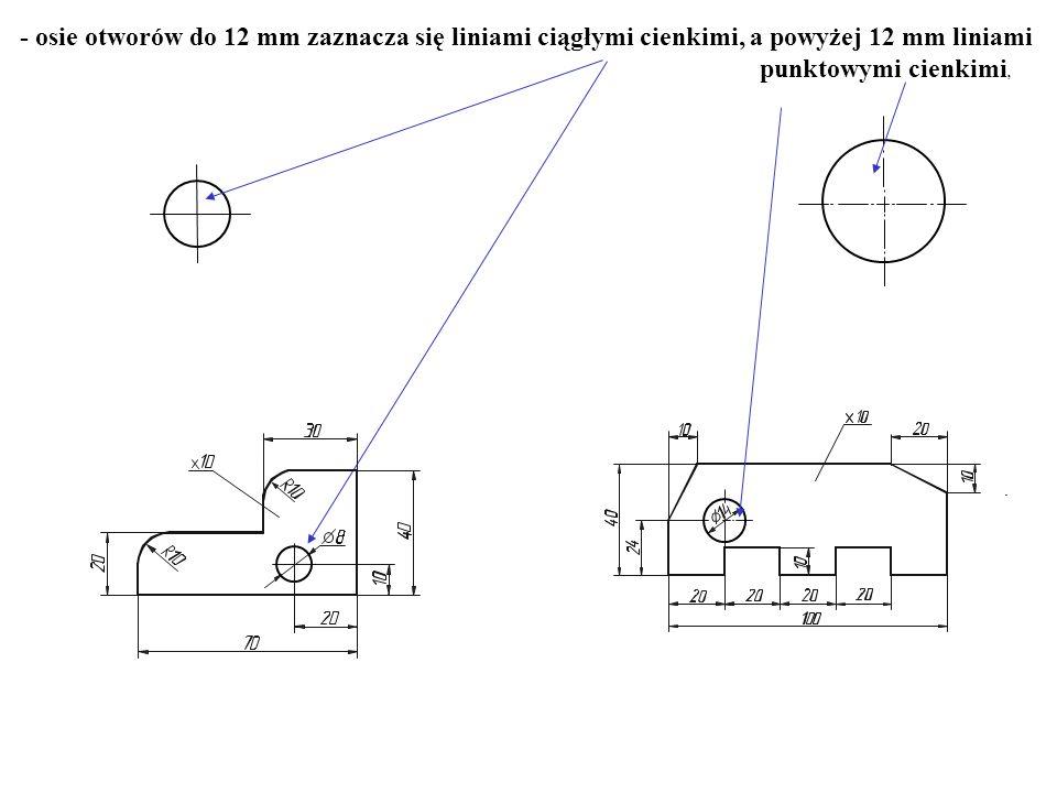 - osie otworów do 12 mm zaznacza się liniami ciągłymi cienkimi, a powyżej 12 mm liniami punktowymi cienkimi,