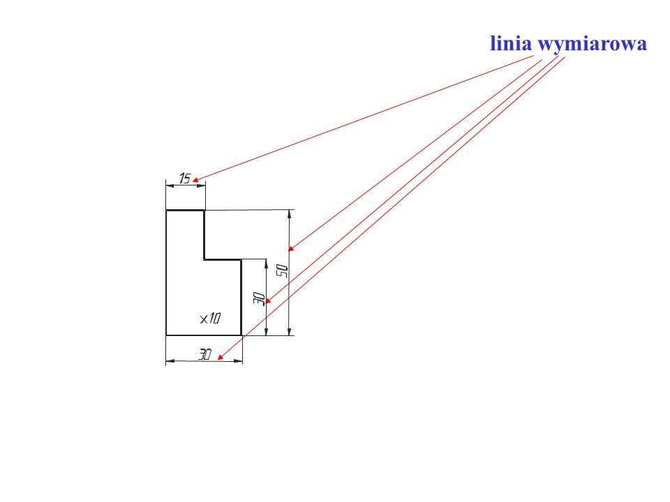 - linie wymiarowe są cienkie, zakończone strzałkami i są rysowane w odległości 10 mm od linii konturowych, a następne linie wymiarowe są rysowane w odległości nie mniejszej niż 7 mm od poprzednich, - pomocnicze linie wymiarowe wychodzą ponad grot strzałki 1-2 mm,