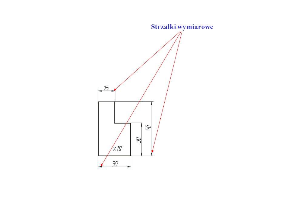 -linie wymiarowe nie powinny się krzyżować z innymi liniami, (dopuszcza się możliwość krzyżowania linii jeżeli nie ma innej możliwości zwymiarowania rysunku tak jak w tym przypadku)