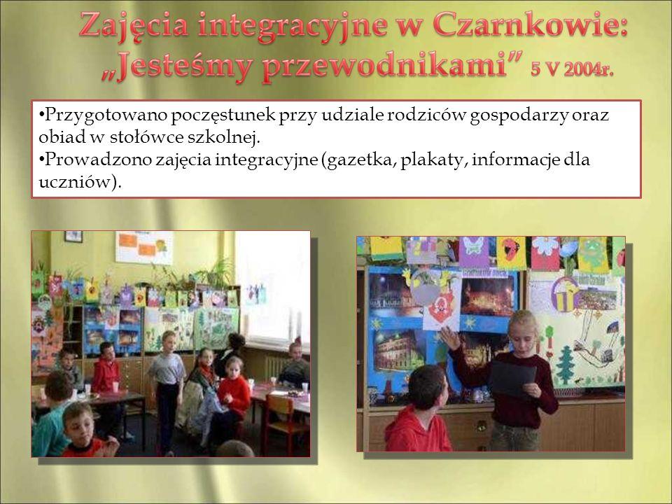 Przygotowano poczęstunek przy udziale rodziców gospodarzy oraz obiad w stołówce szkolnej. Prowadzono zajęcia integracyjne (gazetka, plakaty, informacj