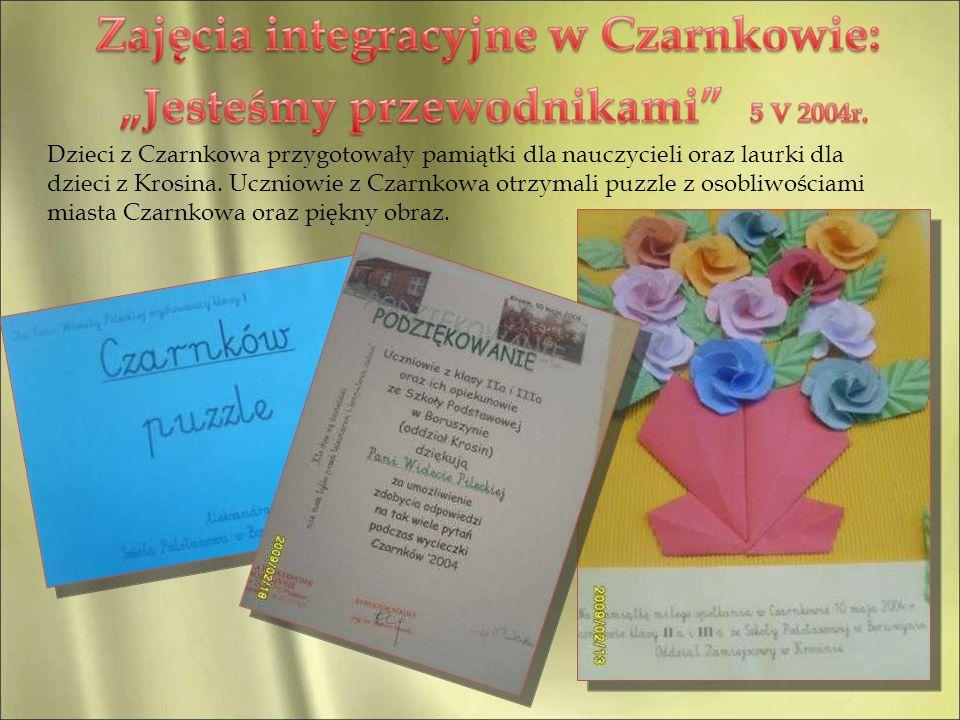 Dzieci z Czarnkowa przygotowały pamiątki dla nauczycieli oraz laurki dla dzieci z Krosina. Uczniowie z Czarnkowa otrzymali puzzle z osobliwościami mia