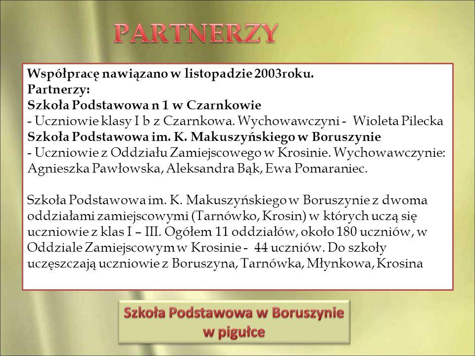 Współpracę nawiązano w listopadzie 2003roku. Partnerzy: Szkoła Podstawowa n 1 w Czarnkowie - Uczniowie klasy I b z Czarnkowa. Wychowawczyni - Wioleta