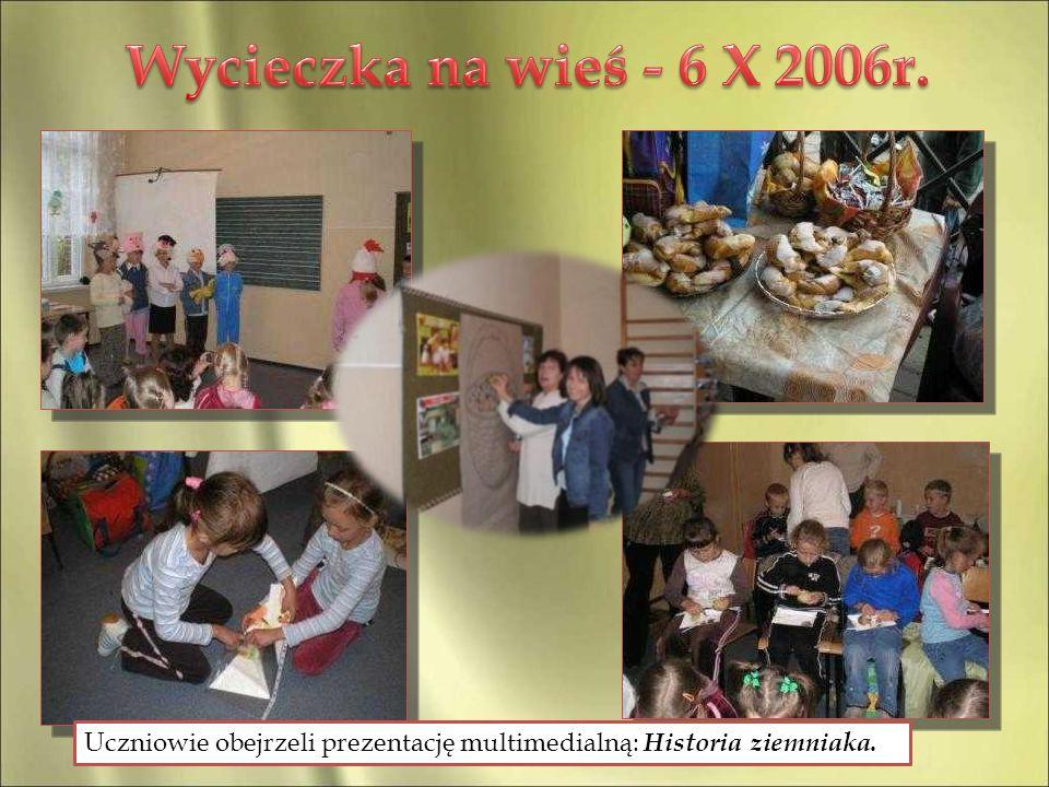 Uczniowie obejrzeli prezentację multimedialną: Historia ziemniaka.