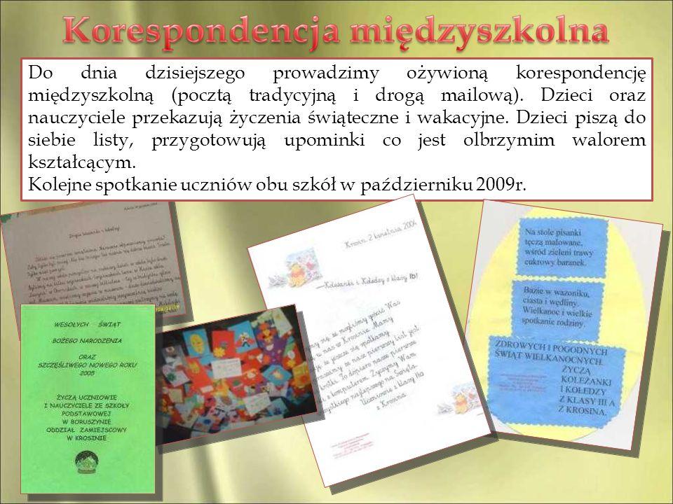 Do dnia dzisiejszego prowadzimy ożywioną korespondencję międzyszkolną (pocztą tradycyjną i drogą mailową). Dzieci oraz nauczyciele przekazują życzenia