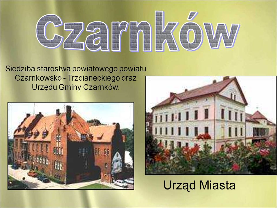 Urząd Miasta Siedziba starostwa powiatowego powiatu Czarnkowsko - Trzcianeckiego oraz Urzędu Gminy Czarnków.