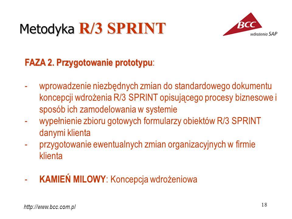 18 FAZA 2. Przygotowanie prototypu FAZA 2. Przygotowanie prototypu : -wprowadzenie niezbędnych zmian do standardowego dokumentu koncepcji wdrożenia R/