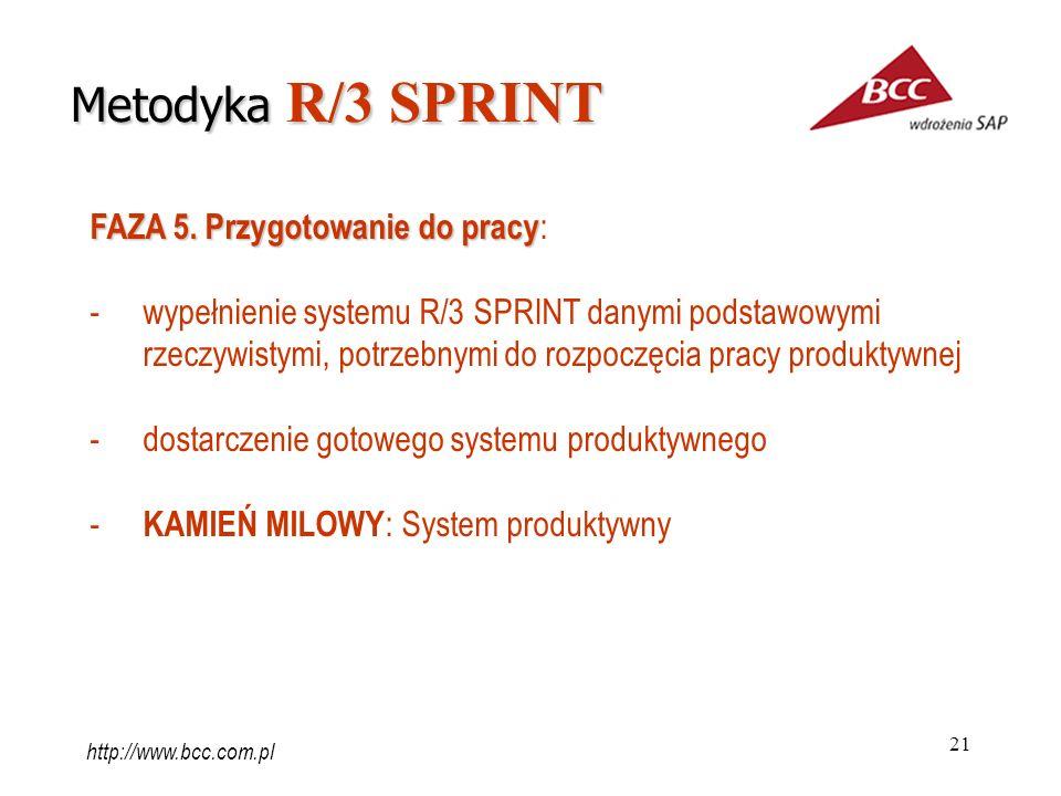 21 FAZA 5. Przygotowanie do pracy FAZA 5. Przygotowanie do pracy : -wypełnienie systemu R/3 SPRINT danymi podstawowymi rzeczywistymi, potrzebnymi do r