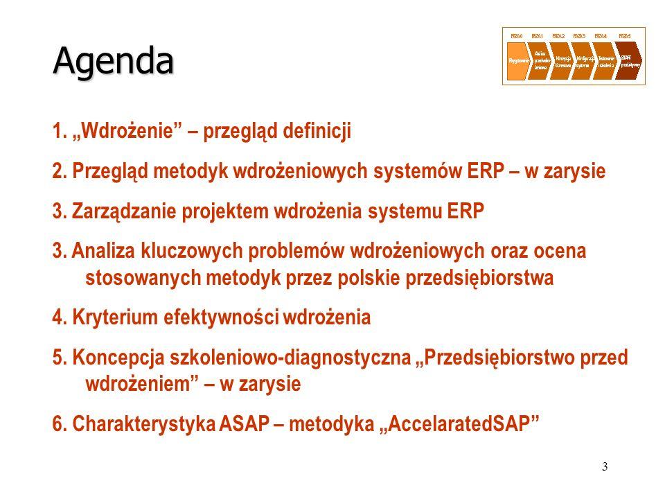 3 Agenda 1. Wdrożenie – przegląd definicji 2. Przegląd metodyk wdrożeniowych systemów ERP – w zarysie 3. Zarządzanie projektem wdrożenia systemu ERP 3