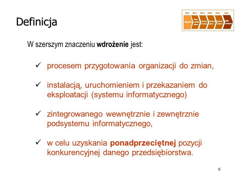 27 Zarządzanie projektem ERP Organizacja i administrowanie projektem PROCESY POMOCNICZE Polityka informacyjna i motywacyjna Zarządzanie jakością Zarządzanie ryzykiemZarządzanie zmianą Szkolenia