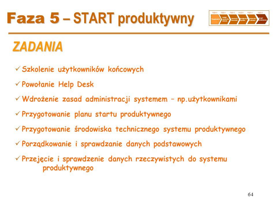 64 Faza 5 – START produktywny Szkolenie użytkowników końcowych Powołanie Help Desk Wdrożenie zasad administracji systemem – np.użytkownikami Przygotow