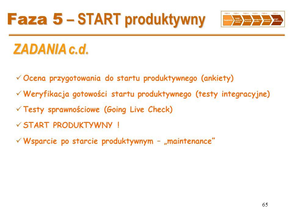 65 Faza 5 – START produktywny Ocena przygotowania do startu produktywnego (ankiety) Weryfikacja gotowości startu produktywnego (testy integracyjne) Te